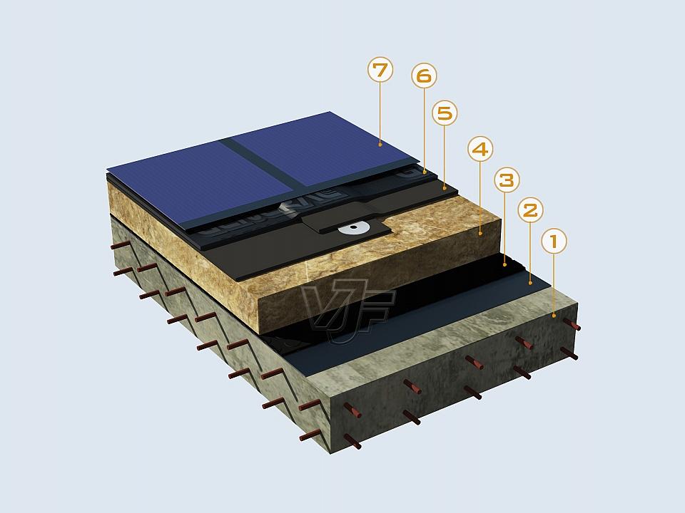Гъвкави фотоволтаични панели върху битумна хидроизолация