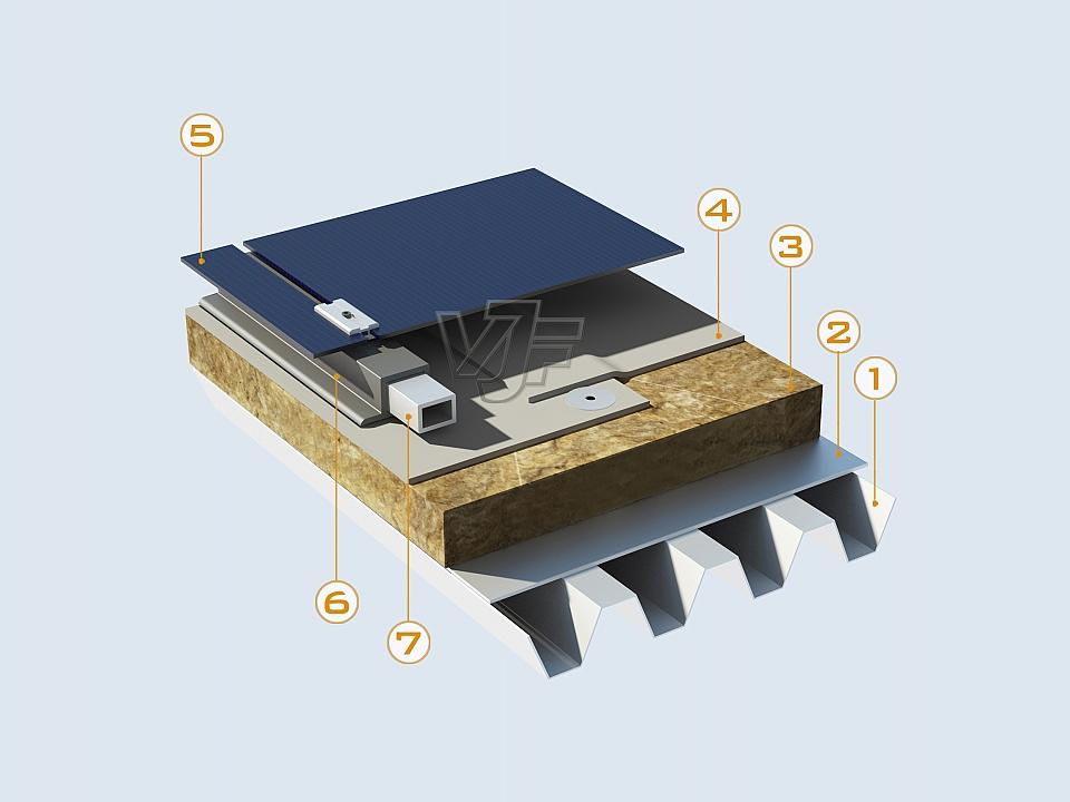 Твърди фотоволтаични панели върху PVC хидроизолация