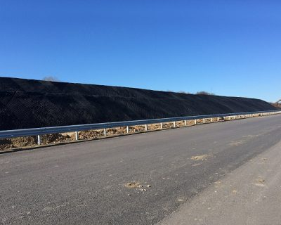 Erosion control of slopes and earth reinforcement in Section 2 from Maritza Highway installed by VJF Engeneering