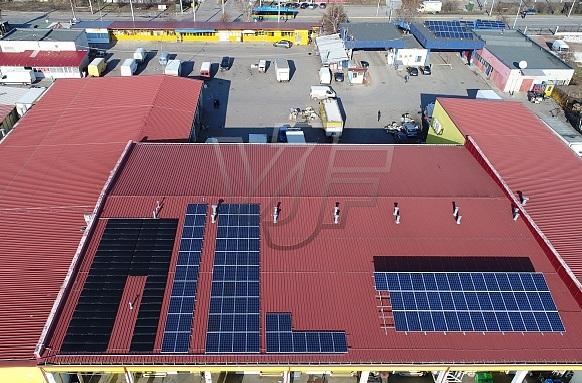 Фотоволтаична инсталация върху покрива на Тържище София